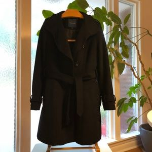 Cola Haan Wool Blend Belted Button Front Coat